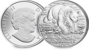 grizzly bear 300x170 - Canada 2014 Silver $100 Grizzly Bear Coin