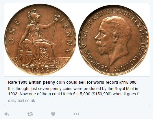 "1933 penny - ""The most desirable British coin"""