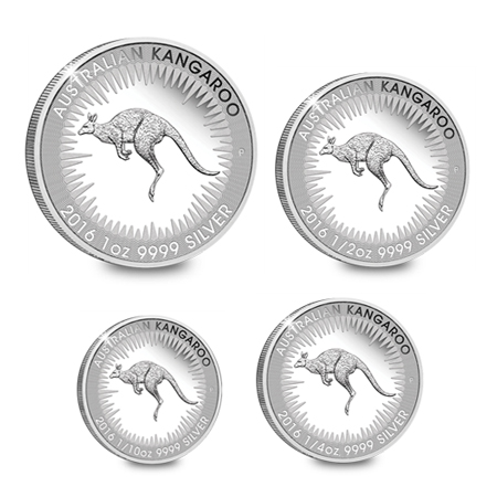 four silver proof kangaroo coins - 10 million coins sold
