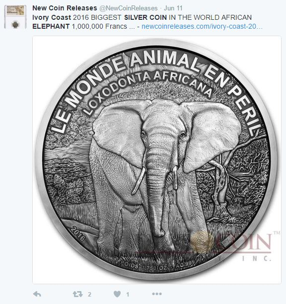 ivory coast elephant - The world's largest silver coin