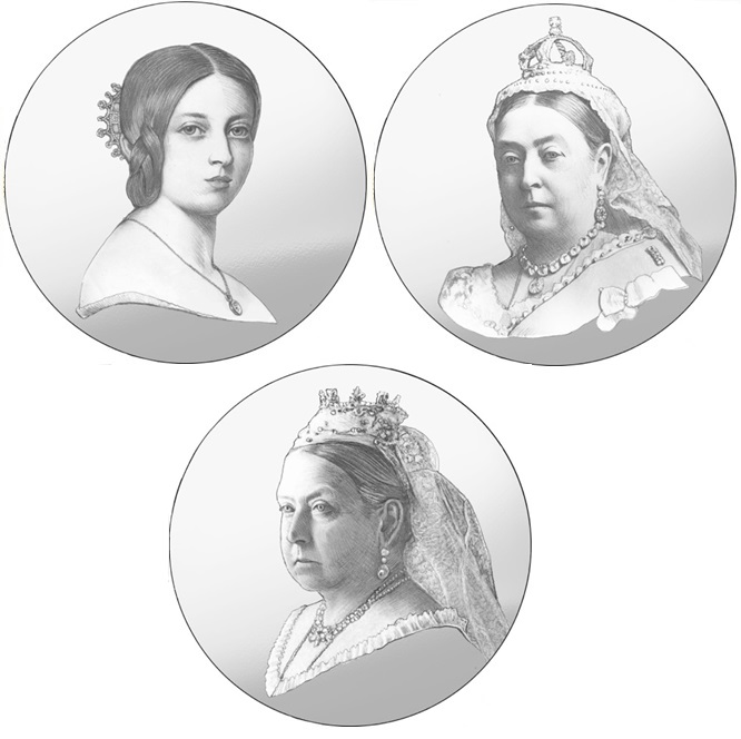 Victoria 200th Birthday Gold Proof One Pound Three Coin Set Draft Set 1 - A behind-the-scenes look at the specially commissioned Queen Victoria portraits
