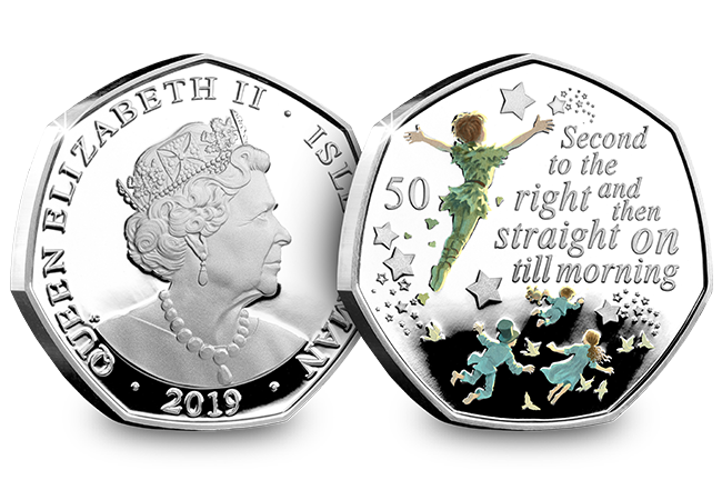 Peter Pan IOM Silver Proof 50p Coin Obverse Reverse - The day Peter Pan coins were everywhere