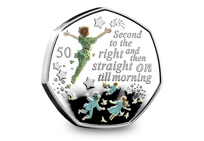 Peter Pan IOM Silver Proof 50p Coin Reverse - The day Peter Pan coins were everywhere