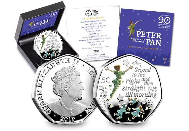 Peter Pan IOM Silver Proof 50p Coin - The day Peter Pan coins were everywhere