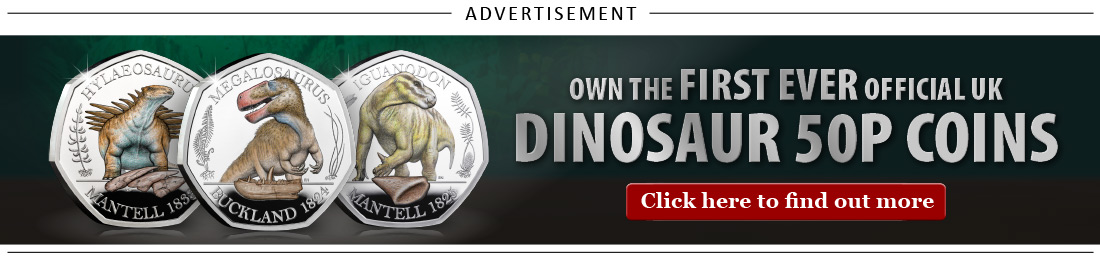 DN 2020 Megalosaurus colour silver proof 50p coin set blog adverts 1 - The coin that every cab driver hated