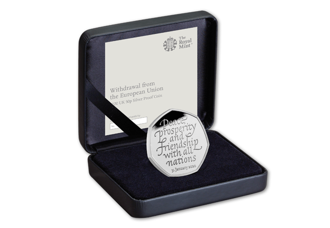 CL 2020 UK Brexit silver 50p Web rev case - The most talked about coin of all time?