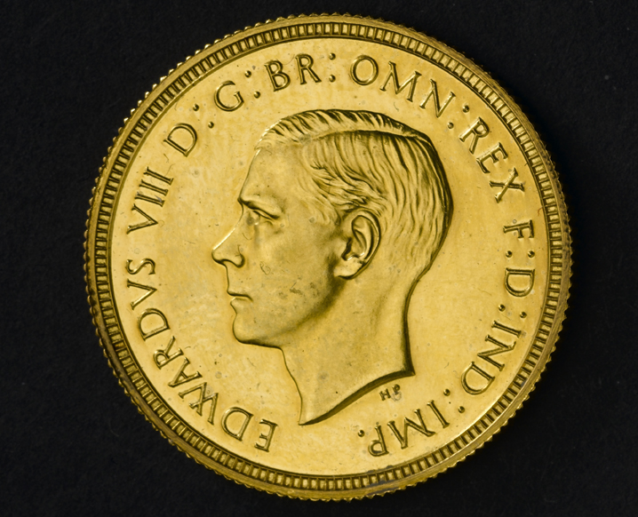 Edward VIII 1937 Sovereign Obverse - Britain's first ever £1m coin