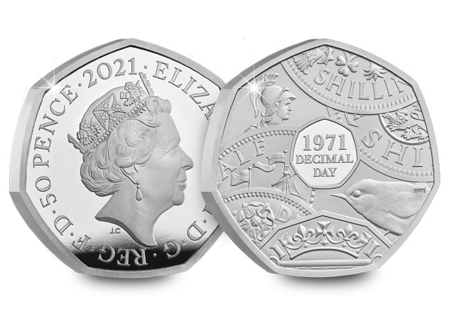 UK 2021 Decimal Day 50p Silver Proof Coin - The day that changed UK coinage forever