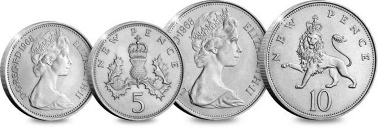 uk 1968 first decimalisation 10p and 5p coins comaprison 1 - The day that changed UK coinage forever