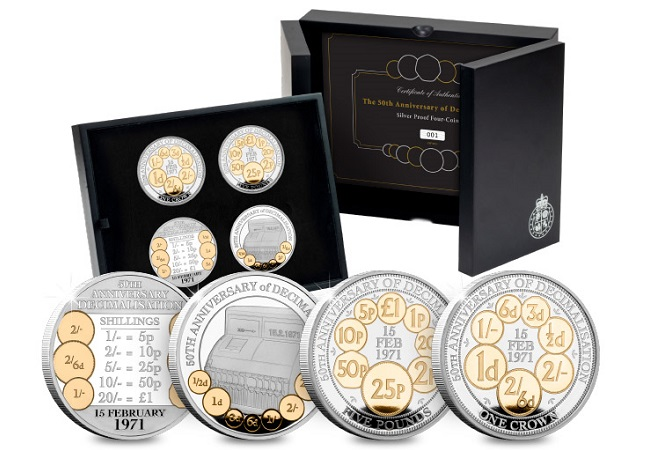 "DN X672 50th Anniversary of Decimalisation Silver with gold plate Proof Set main - ""Save our Sixpence"""