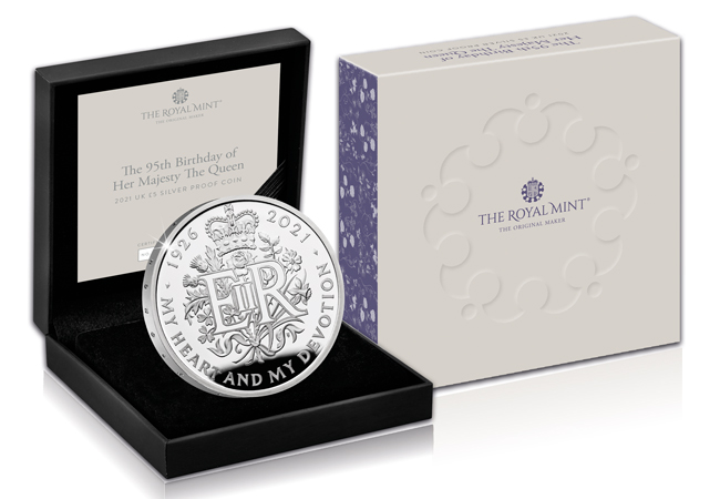 Queens 95th Royal Mint Silver Proof 5 Pound Coin Product Images Coin in box - Dissecting a Design: The most important £5 coin issued this year